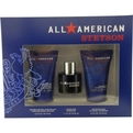All American Stetson Cologne Spray 1.7 oz & Soothing Aftershave Lotion With Aloe 4 oz & Hair And Body Wash 4 oz for men by Coty