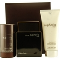 Euphoria Men Intense Edt Spray 3.4 oz & Aftershave Balm 3.3 oz & Deodorant Stick Alcohol Free 2.5 oz for men by Calvin Klein
